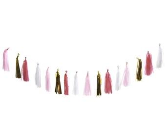 Tissue Tassel Garland (Pink, Hot Pink, White, Gold)