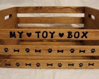 "Handcrafted wood Dog toy box 18"" x 13"" x 9 decorated with vinyl appliques"