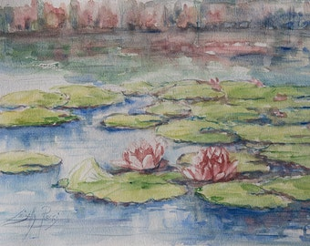 Original Watercolor | Pond with water lilies