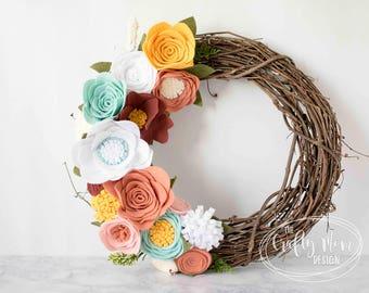 Spring Mint, Mustard, White Felt Flower Wreath || Grapevine Wreath || Front Door Wreath || Mantel Wreath || Nursery Decor || Floral Decor