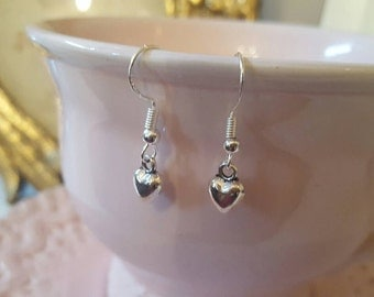 MOTHER'S DAY ..Handmade delicate  silver Puffed heart earrings