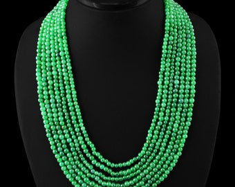 650ct Emerald beaded necklace with adjustable silk cord closure- 7 rows 7 lines - Gift for woman Valentine gift