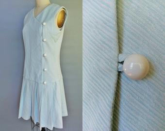 seafoam / 1960s powder blue button up scooter dress / 4 6 8 small