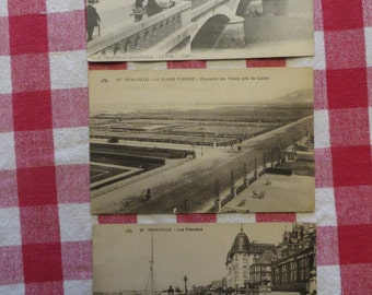 Lot of 3 Antique French postcards france deauville trouville w/ free ship