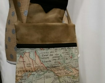 Handmade Purse by CMarie with World Map Cotton Fabric