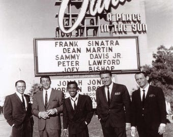 The Rat Pack Dean Martin, Sammy Davis Jr, Frank, Black and White 8x10 Photo Picture Celebrity Print
