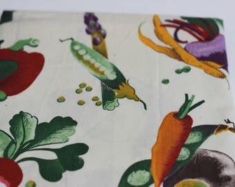 Vegetable Print Cotton with Cream Background