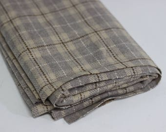 Beige Check Plaid Wool Mix Suiting Fabric Remnant