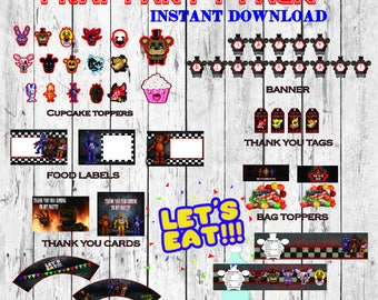 SALE 50%, FNAF party pack, FNAF party supplies! Five Nights at Freddy's party pack, Five Nights at Freddy's party supplies, Digital files