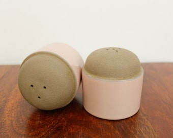 Vintage Coral Sand Stoneware Salt and Pepper Shakers