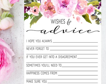 Bridal Shower Game - Advice for the Bride - Advice for the Bride and Groom - Bridal Shower Activity - Bridal Shower Ideas - Wedding Shower