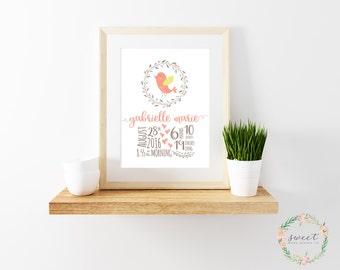 Birth Announcement, Print, Nursery Wall Art, Baby Girl, Bird, Birdie, Tweet, Personalized, 8x10