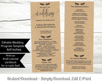 Printable Wedding Program Template, Instant Download Editable Ceremony Order of Service Program, PDF WLP229