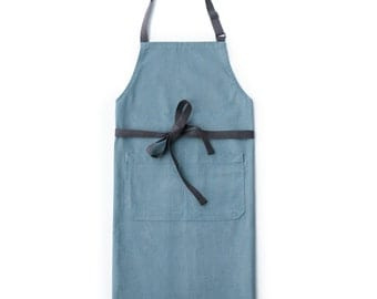 Soft Blue Chef's Kitchen Apron (Regular Size)