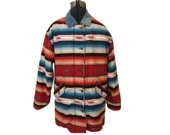 Vintage Woolrich Coat Southwest Style Print with Denim Collar Size S