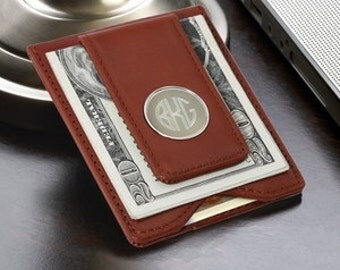 Monogram Money Clip Brown or Black , Personalized Leather Magnetic Money Clip