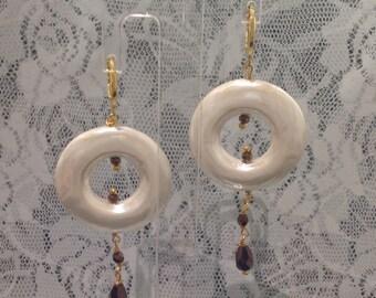 Brown Pearl Hematite earrings