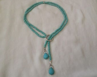Beaded Blue Drop Bead Necklace