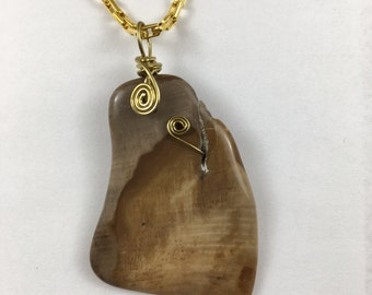 Petrified Wood stone pendant