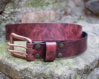 Leather Belt 38mm Antique red
