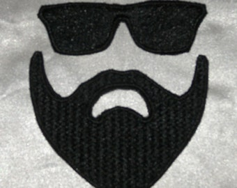 Embroidered Kanye Style Black Sunglasses & Beard 2-Pc Textured Patch Set Iron On Sew On