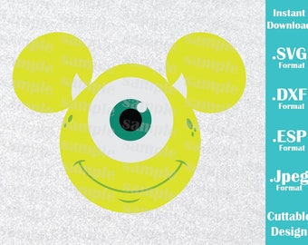INSTANT DOWNLOAD SVG Disney Inspired Mike Monster Inc. Mickey Ears for Cutting Machines Svg, Esp, Dxf and Jpeg Format Cricut Silhouette