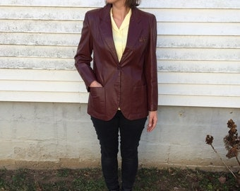 Vintage Etienne Aigner Wine Leather Retro Jacket