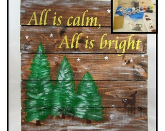 Christmas Craft Project - DIY Christmas - Board Sign Craft Kit - DIY Christmas Sign - Make your own Wood Sign Decoration - Winter Wonder