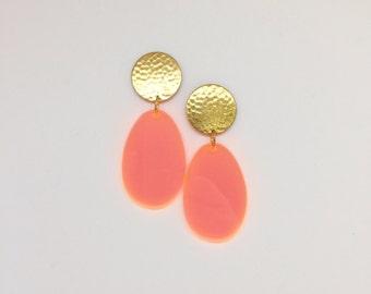 Brass Drop Peach Earrings