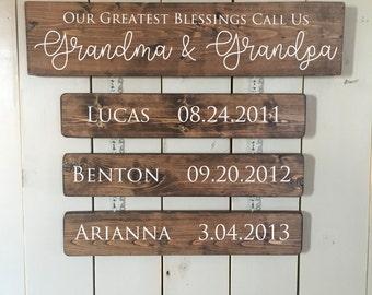Grandchildren Sign | Family Tree | Custom Name Sign | Personalized Grandkids | Gift for Mom | Gift for Grandma