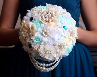 Green Brooch bouquet, green, turquoise brooch bouquet, fabric bouquet, jeweled bouquet, mint bouquet, ivory bouquet