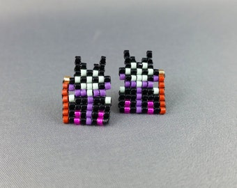 Maleficent Earrings - Sleeping Beauty Earrings Pixel Earrings Villain Earrings 8-bit Jewelry Seed Bead Earrings Pixel Jewelry Evil Queen