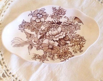 Brown Transferware Plate or Tray