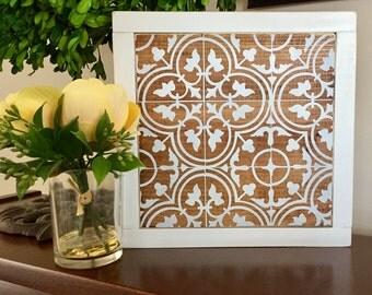 "Vintage Tile Pattern   9""x9"" Wood Sign   Home Decor   Shelf Sitter   Rustic Decor"