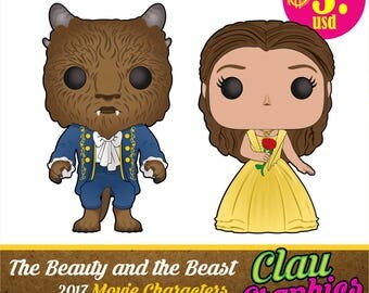 The Beauty and The Beast 2017 movie Cartoons, SVG patterns and PNG images, awesome details for using on papercraft projects and more