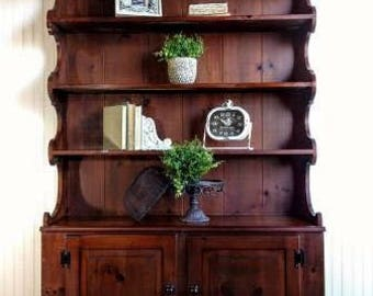 Dark Wood Farmhouse Rustic China Cabinet Hutch Bookcase Bookshelf Linen Storage Cabinet Log Cabin