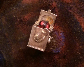 Jack in the box vintage sterling and glass mechanical charm pendant