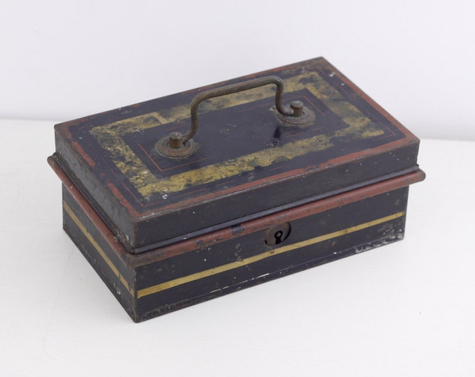 Vintage English lockbox, old piggybank, vintage metal box, classic home cash lockbox storage, general stowage, desk tidy, small safe