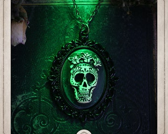 DAY of the DEAD Locket necklace cameo skull Mexican and pink, memento mori, Gothic COP025