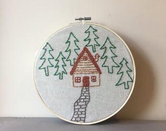 Cabin In The Woods - Hand Embroidery Bespoke Wall Hanging, Embroidery Hoop Art