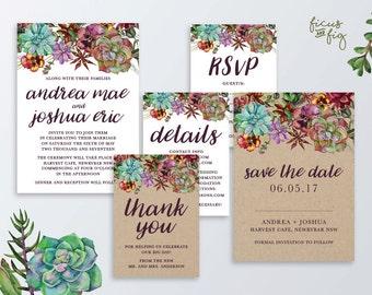 Printable Wedding Invitation Set, Kraft wedding invitation, Australian Native Wedding invite, Succulent,Rustic, Save the Date,Native flowers