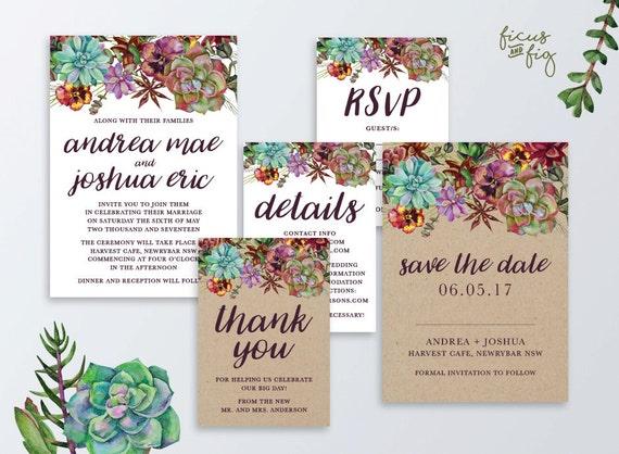 Native American Wedding Invitations: Printable Wedding Invitation Set Kraft Wedding Invitation