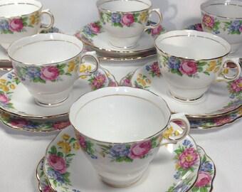 Colclough Tea Set, Bone China Tea Set, Six Cups Saucers and Plates Tea Set, Floral Tea Set, Vintage Bone China Tea Set