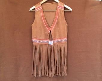 Vintage faux suede fringed vest