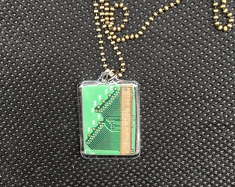 Computer Chip Clear Jewelry Pendant