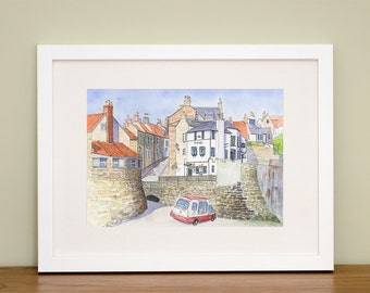 Robin Hood's Bay - North Yorkshire Coast - Coastal Art - British Seaside Gift - Coastal Gift - Landscape Art  Home Decor - Watercolour Print