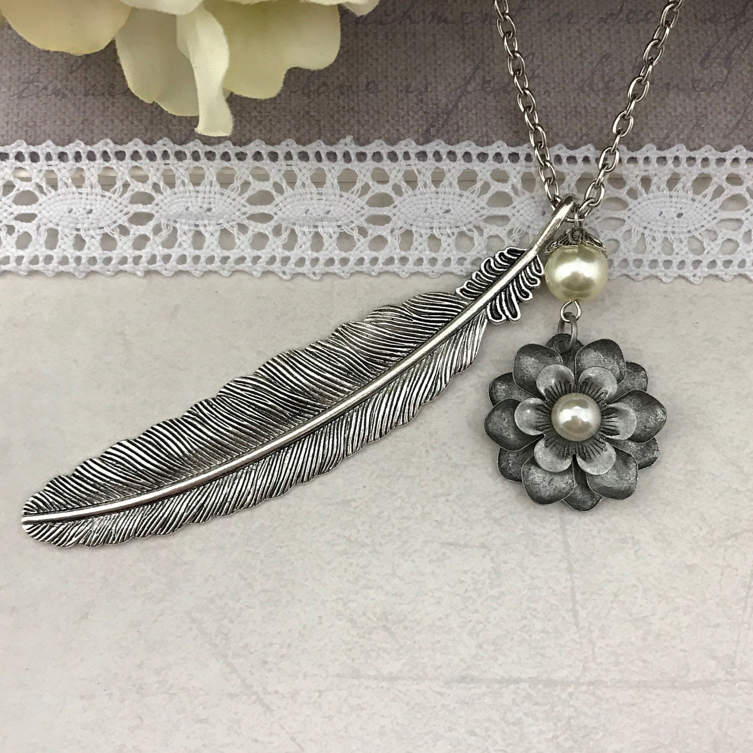Silver Feather Pendant Necklace With Flower Boho Birthday Gift Anniversary