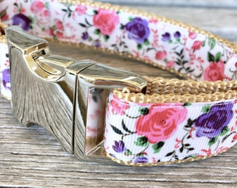 "Vintage Rose 1"" Dog Collar, Girl Dog Collar, Female Dog Collar"