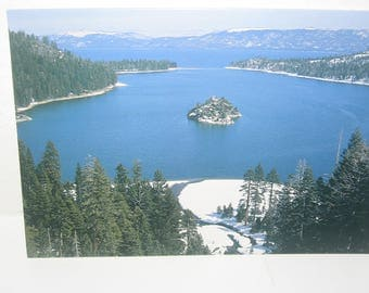 Lake Tahoe Bay Photo Christmas Card. Emerald Bay Emerald Point Fannette Island Eagle Point