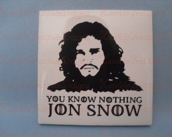 "Drink Coaster - ""You Know Nothing Jon Snow"" -  Game of Thrones -  House of Stark Drinkware"